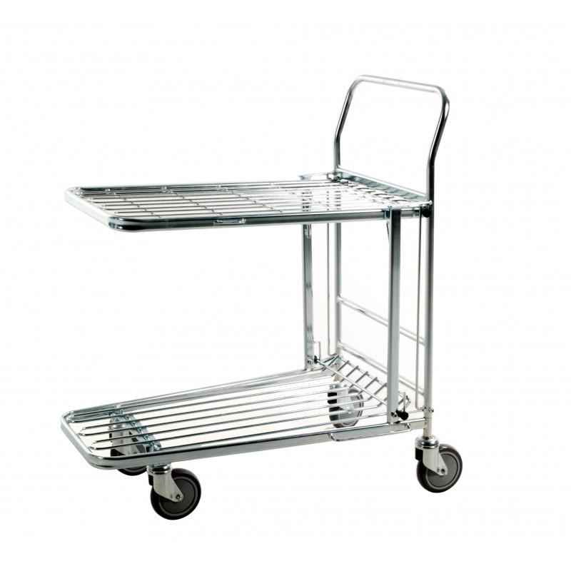 Chariot emboîtable à 2 plateaux en fil d'acier zingué