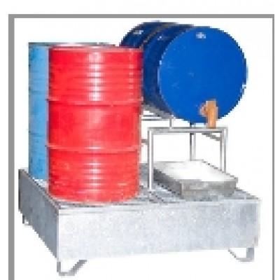 Bac 4 fûts en acier galvanisé à chaud manutentionnable chargé
