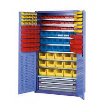 Armoire à portes battantes 146 bacs à bec +3 tiroirs
