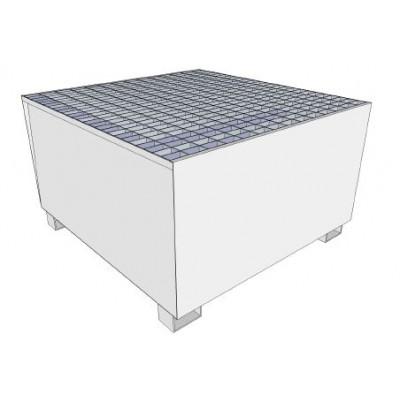 Bac de rétention acier galvanisé sur pieds rétention 1000 litres pour stockage 1 conteneur 1000 litres