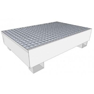 Bac de rétention en acier galvanisé pour stockage de 2 fûts 220 litres debout. Rétention 220 Litres