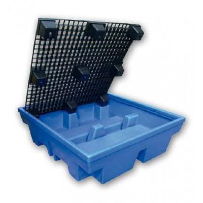Bac de rétention polyéthylène pour 4 fûts de 200 litres debout rétention 410 litres