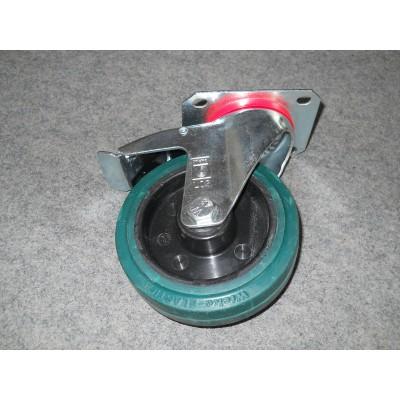 Roulette platine zinguée roue indéjantable diam 125 pivotante à frein