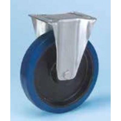 Roulette platine acier zingué fixe caoutchouc élastique bleu diamètre 200