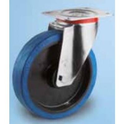 Roulette platine acier zingué caoutchouc élastique bleu diamètre 125 pivotante