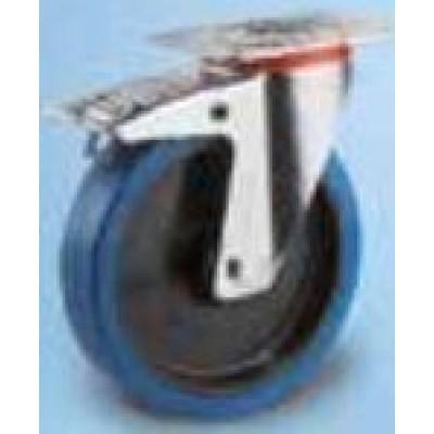 Roulette platine acier zingue pivotante à frein caoutchouc  bleu diamètre 160