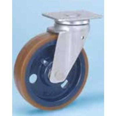 Roulette platine étanche renforcée roue fonte polyuréthane diamètre 200 pivotante