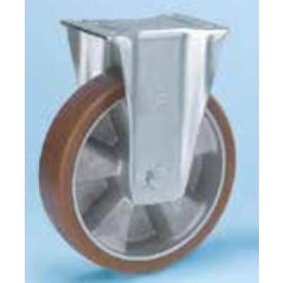 Roulette platine acier zingué étanche renforcé roue alu polyuréthane diamètre 200 fixe