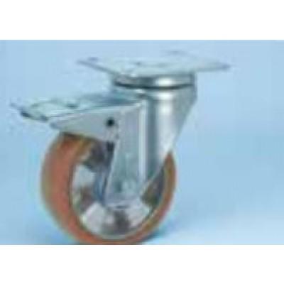 Roulette platine acier zingué étanche renforcé roue alu polyuréthane diamètre 200 pivotante à frein