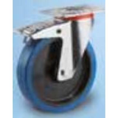 Roulette Indéjantable caoutchouc élastique bleu diamètre 100 pivotante à Frein