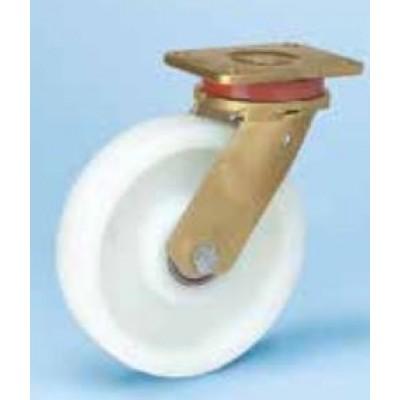 Roulette forte charge acier mécano soudé roue polyamide diam 150 pivotante