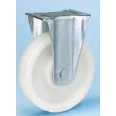 Roulette moyenne charge platine tôle d'acier emboutie fixe diamètre 200 polyamide