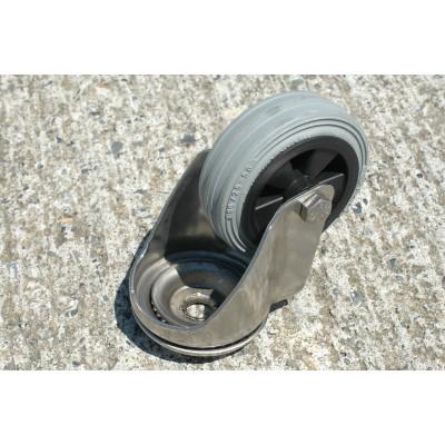 Roulette inox à oeil pivotante roue diamètre 125 caoutchouc gris