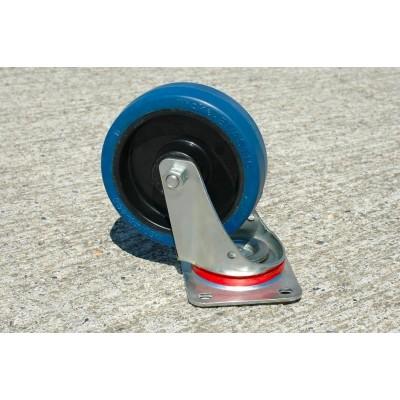 Roulette platine acier zingué pivotante caoutchouc bleu diamètre 200