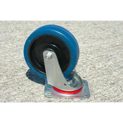 Roulette Indéjantable caoutchouc élastique bleu diamètre 100 pivotante