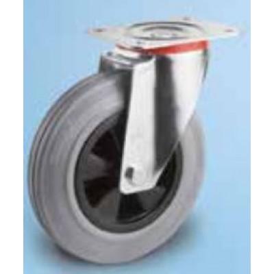 Roulette platine zinguée caoutchouc gris diamètre 100 pivotante