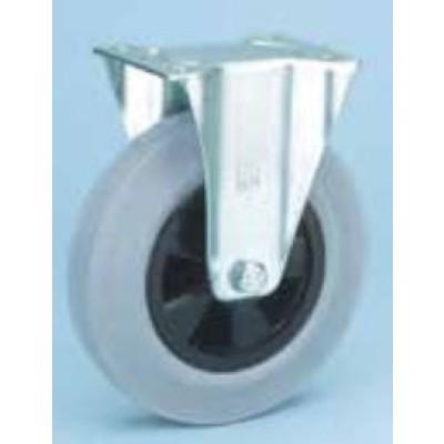 Roulette platine zinguée roue caoutchouc gris diamètre 100 fixe