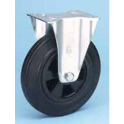 Roulette standard platine acier roue diamètre 125 caoutchouc noir fixe