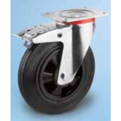 Roulette standard platine acier roue diam 100 caoutchouc noir pivotante à frein