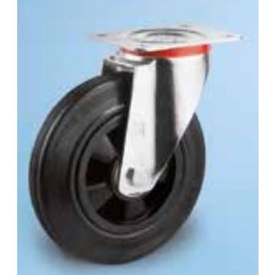 Roulette standard platine acier roue diamètre 125 caoutchouc noir pivotante
