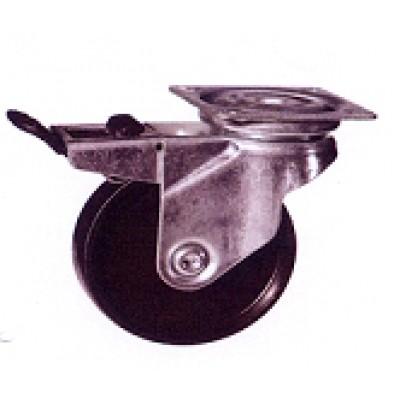Roulette platine acier zingué polypropylène diamètre 50 pivotante à frein