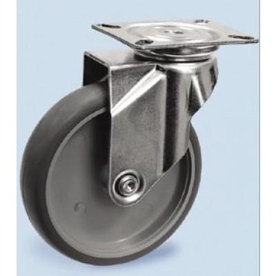 Roulette platine zinguée pivotante roue TPE gris diamètre 50